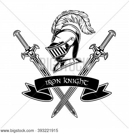 Medieval Warrior Accessories Vector Illustration. Armor, Helmet With Feather, Crossed Swords And Iro