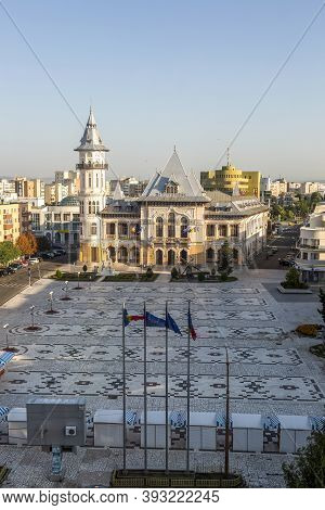 Buzau, Romania - August 11, 2017: City Hall In The City Of Buzau