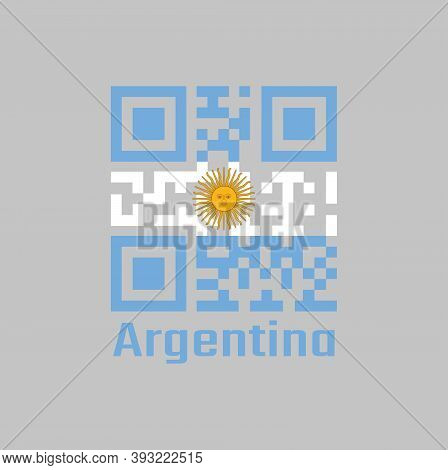 Qr Code Set The Color Of Argentina Flag, A Horizontal Triband Of Light Blue (top And Bottom) And Whi
