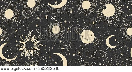 Seamless Black Space Pattern With Sun, Crescent And Stars On A Blue Background. Mystical Ornament Of