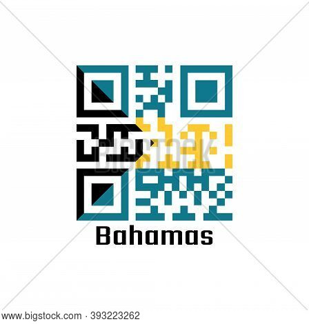 Qr Code Set The Color Of Bahamas Flag, A Horizontal Triband Of Aquamarine (top And Bottom) And Gold