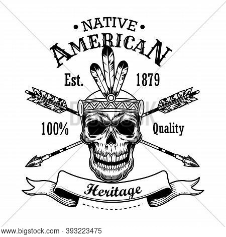 Native American Heritage Vector Illustration. Skull In Feather Hairband, Crossed Arrows, Text. Nativ