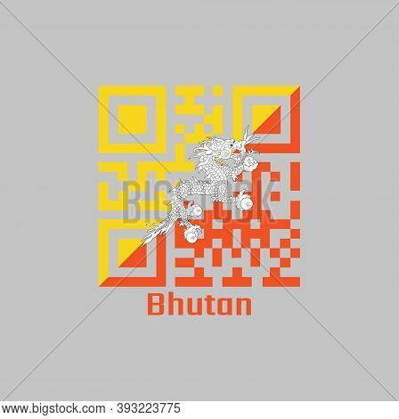 Qr Code Set The Color Of Bhutan Flag, Triangle Yellow And Orange, With A White Dragon Holding Four J