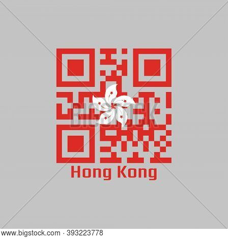 Qr Code Set The Color Of Hong Kong Flag, White Five-petal Bauhinia Blakeana Flower In The Centre Of