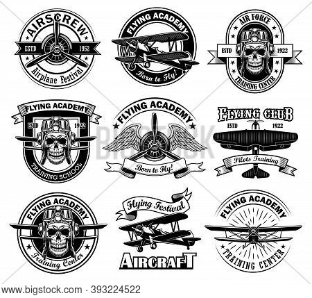 Retro Stickers For Flying Academy Vector Illustration Set. Vintage Monochrome Pilot Skull And Aircra