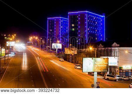 Spring, 2012 - Vladivostok, Russia - Illuminated Dormitories Of The Medical Street In Vladivostok. N