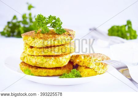 Fresh Made Chick Peas Pancakes With Parsley And Sour Cream, Delicious Snack, Vegetarian Chick Pea Bu