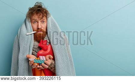Upset Foxy Man Feels Badly, Calls Doctor, Has Symptoms Of Cold, Suffers From Fever, Wrapped In Warm