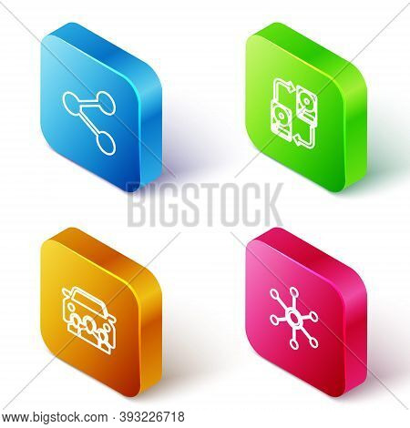 Set Isometric Line Share, Data Exchange With Hhd, Car Sharing And Network Icon. Vector