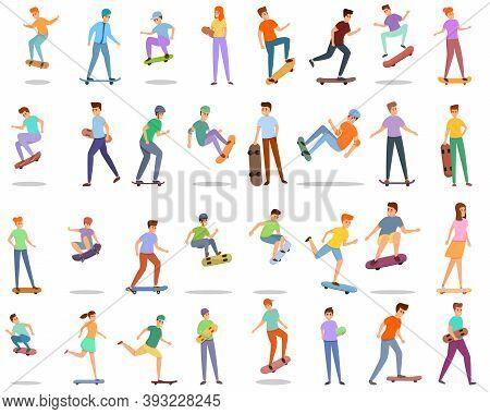 Children Skateboarding Icons Set. Cartoon Set Of Children Skateboarding Vector Icons For Web Design
