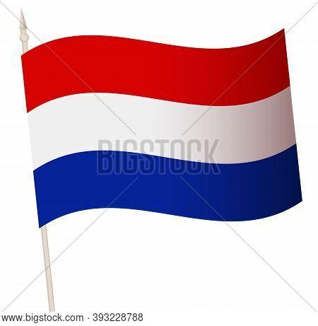 Vector Waving Flag On A Flagpole. The National Flag Of Netherland.
