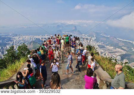 Rio De Janeiro, Brazil - 08 May 2016: People On Corcovado Hill In Rio De Janeiro, Brazil