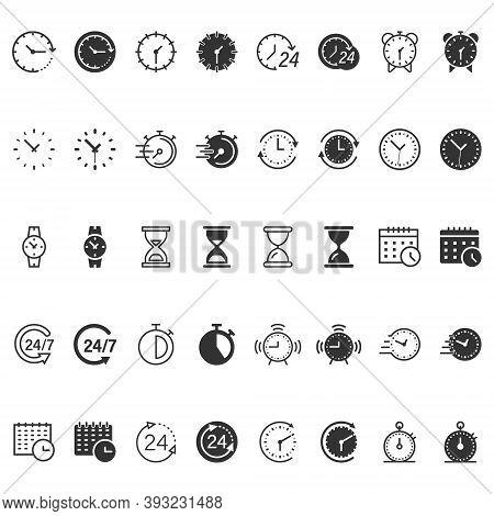 Time Icon Set In Flat Style. Agenda Clock Vector Illustration On White Isolated Background. Sandglas