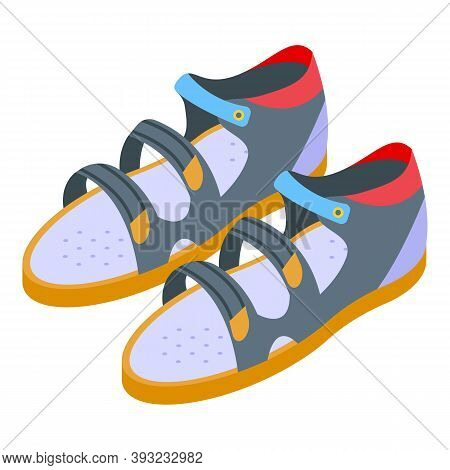 Kid Sandals Icon. Isometric Of Kid Sandals Vector Icon For Web Design Isolated On White Background