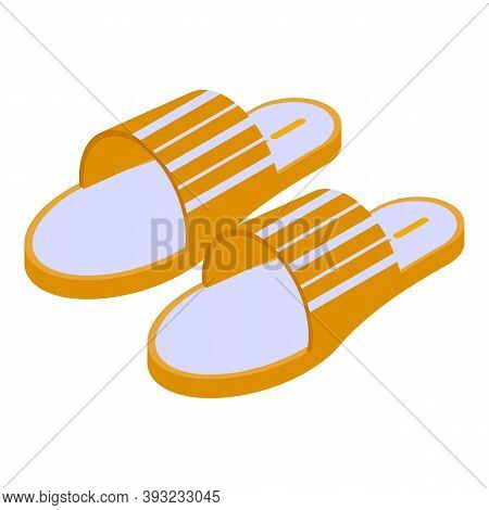 Rubber Sandals Icon. Isometric Of Rubber Sandals Vector Icon For Web Design Isolated On White Backgr
