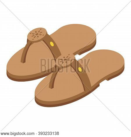 Classic Sandals Icon. Isometric Of Classic Sandals Vector Icon For Web Design Isolated On White Back
