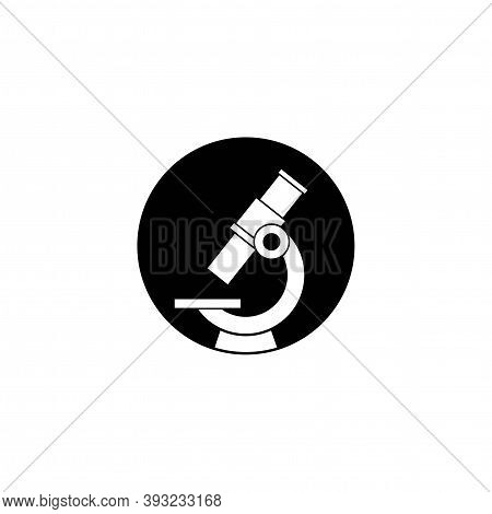 Microscope Silhouette In Circle. Flat Vector Illustration Isolated On White. Lab, Test, Expertise. S