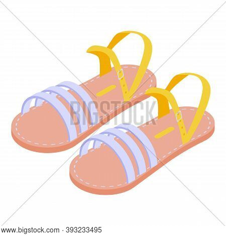 Casual Sandals Icon. Isometric Of Casual Sandals Vector Icon For Web Design Isolated On White Backgr