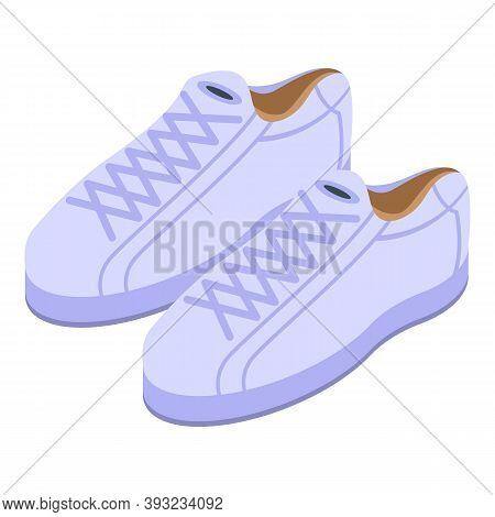 White Leather Sneakers Icon. Isometric Of White Leather Sneakers Vector Icon For Web Design Isolated