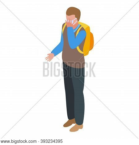 Quarantine School Boy Put Mask Icon. Isometric Of Quarantine School Boy Put Mask Vector Icon For Web