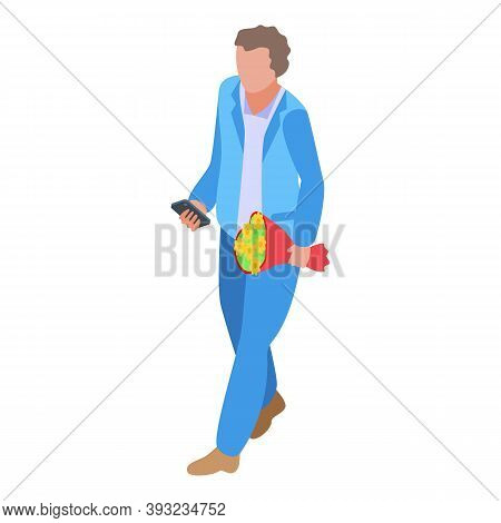 Online Dating Man With Flower Bouquet Icon. Isometric Of Online Dating Man With Flower Bouquet Vecto