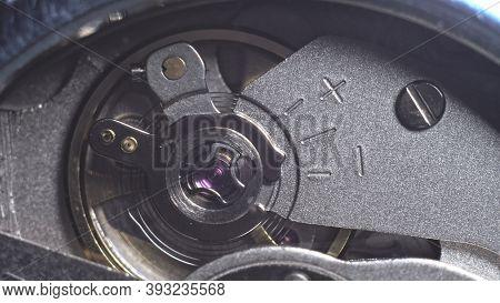 Watch Mechanism Macro Loop. Old Vintage Clock Mechanism Working, Closeup Shot With Soft Focus. Close