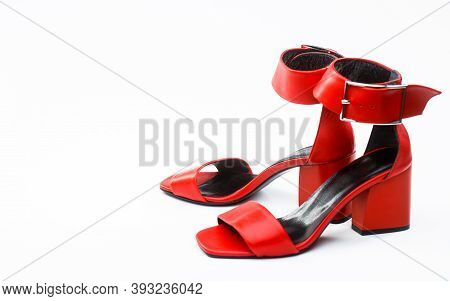 Red Shoe For Women. Beauty And Fashion Concept. Fashionable Women Shoes Isolated On White Background