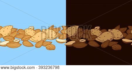 Horizontal Seamless Pattern Of Almond Kernels, For Menu Design Or Confectionery, Textiles, Vector Il