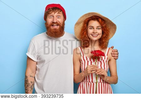 Love And Relationship Concept. European Redhead Woman And Man Cuddle And Stand Together, Have Glad E