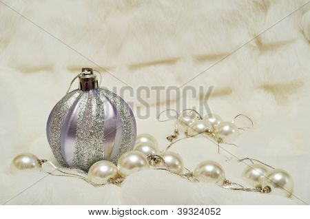 Christmas Decorations With Space For Text Writing: Silver Ball And Pearls