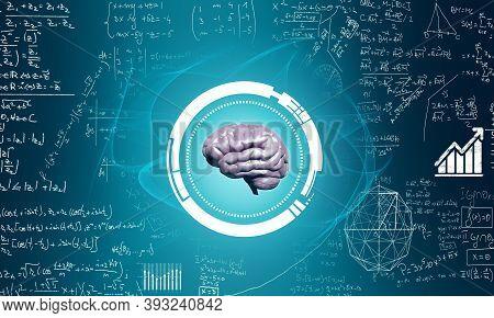 Human Brain On Blue Background With Math Formulas . Artificial Intelligence Concept . 3d Render Illu