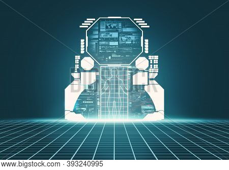 Modern Futuristic Sci-fi Background With Data Display . Digital Media And Personal Information Conce