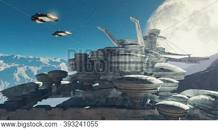 Sci Fi Scene Of Two Planes Flying Above A Futuristic City . Space Station During The Night On A Plan