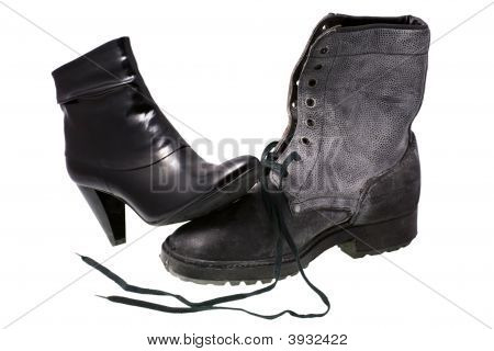Military male boot and elegant female shoe isolated on a white background poster