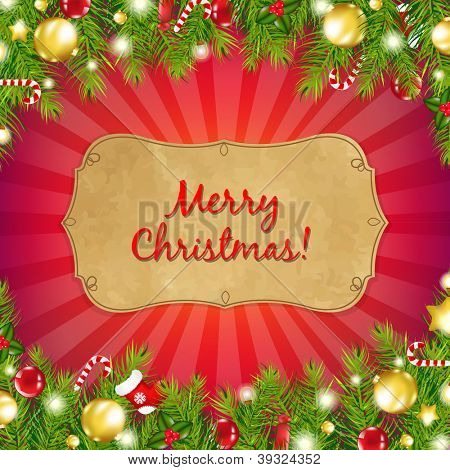 Red Christmas Background With Sunburst Wit Fir-Tree