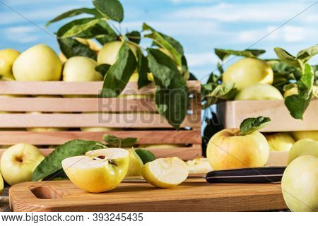 Juicy Fresh Yellow Apples In Wooden Boxes, Sliced Pieces On A Board On A Blue Background