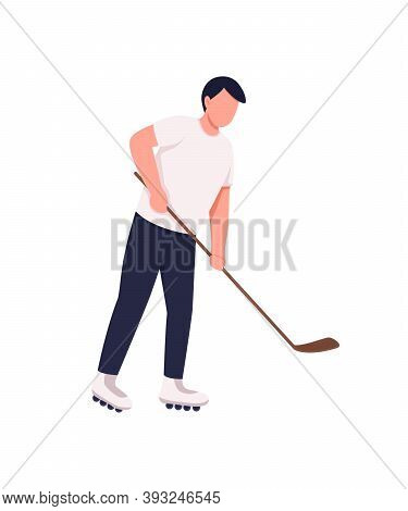 Field Hockey Player Flat Color Vector Faceless Character. Athlete With Stick And Puck. Hobbyist Spor