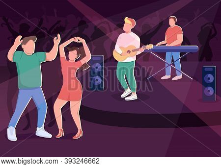 Club Concert Flat Color Vector Illustration. Nightlife Fun Entertainment. Couple Dancers. Music Band