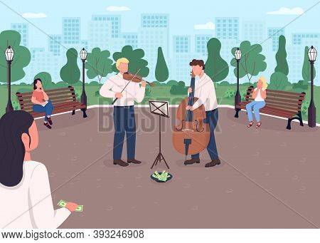 Street Music Band Flat Color Vector Illustration. Violin And Cello Players Earn Money. Musical Instr