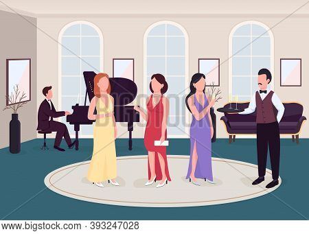 Luxury Cocktail Party Flat Color Vector Illustration. Formal Occasion. Event With Classical Music Pe
