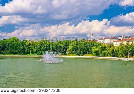 Minsk Cityscape With Svislach Or Svislac River Embankment, Marat Kazey Park And General Headquarters