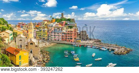 Vernazza Village With Typical Colorful Multicolored Buildings Houses, Castello Doria Castle On Rock
