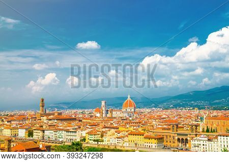 Top Aerial Panoramic View Of Florence City With Duomo Cattedrale Di Santa Maria Del Fiore Cathedral,