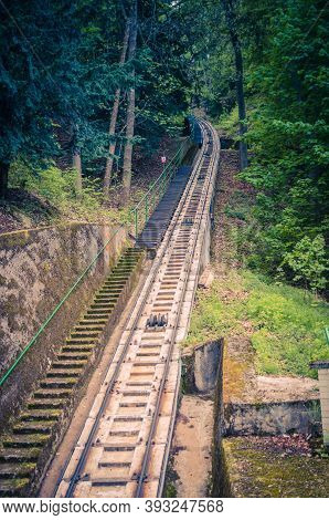 Funicular Rails On Slope Of Hill To Diana Observation Lookout Tower Rozhledna Diana , Thick Dense Fo