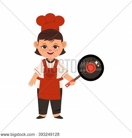 Pretty Girl Chef In Toque And Apron Holding Frying Pan Vector Illustration