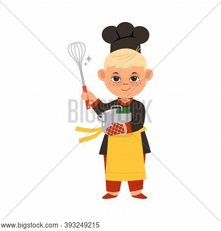 Pretty Boy Chef In Toque And Apron Holding Whisk And Saucepan Vector Illustration