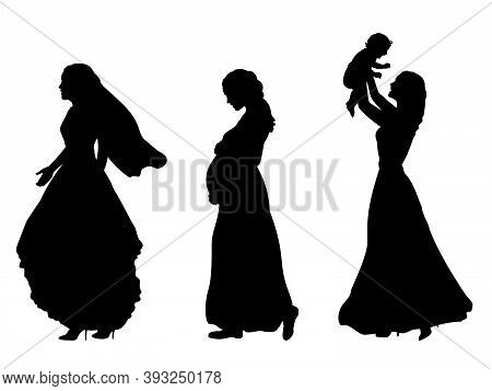 Silhouette Women Bride Pregnancy Motherhood. Illustration Graphics Icon Vector
