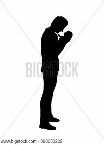 Silhouette Happy Father Holding Newborn Baby In Arms. Illustration Graphics Icon Vector