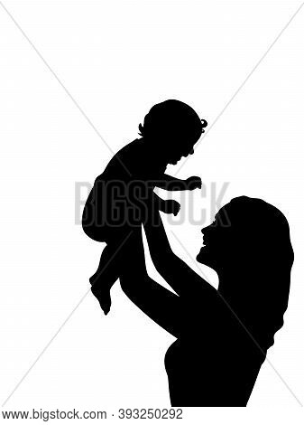 Silhouette Happy Mother Holding Newborn Baby In Air Closeup. Illustration Graphics Icon Vector