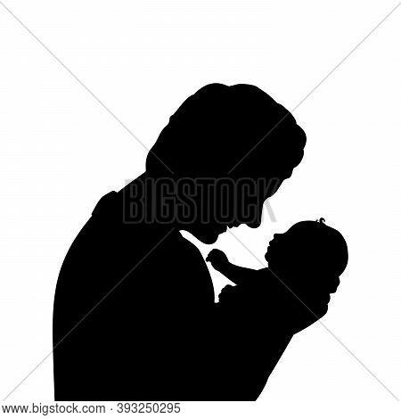 Silhouette Happy Father Holding Newborn Little Baby Closeup. Illustration Graphics Icon Vector